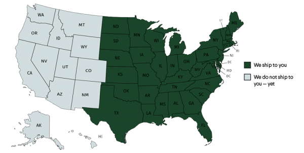 map of united states with states colored in where we ship